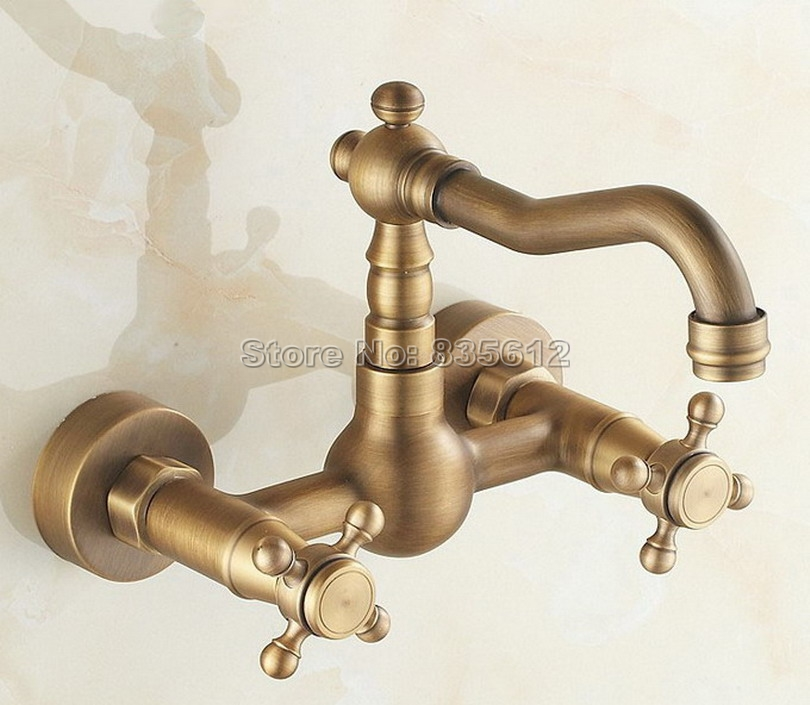 Antique Brass Wall Mounted Kitchen Faucet / Dual Cross Handles Swivel Spout Vessel Sink & Bathroom Basin Mixer Taps Wsf006 antique brass dual cross handles swivel kitchen bathroom sink basin faucet mixer taps anf003