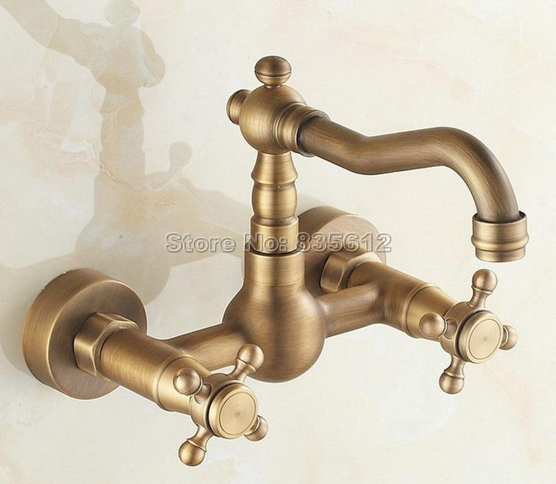 antique brass wall mounted kitchen faucet dual cross handles swivel spout vessel sink bathroom basin mixer taps wsf006