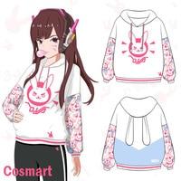 STOCK Game OW Rabbit D VA DVA Kawaii Lolita Cosplay Cotton Fleece Hoodie Jacket Pullover