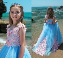 Blue Pink Mixed Color Girls Pageant Dresses Sheer Neck Cap Sleeves Flowers Appliques Lace Tulle Ball Gown Flower Girls Dresses flower girl dresses for weddings cap sleeves sheer neck appliques lace pageant dress for girls long beads girls dresses