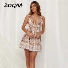 ZOGAA Boho Floral Print Women Summer Dress Elegant V-neck Sexy Spaghetti Strap Backless Ruffles Robe Holiday Beach Female Dress