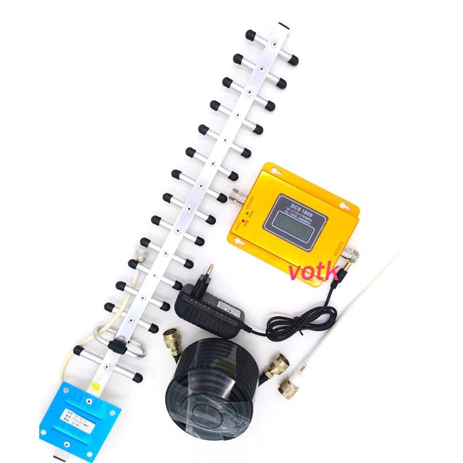 VOTK cellulaire téléphone 4g signal booster DCS 4g Répéteur de Signal, 70dbi LTE 1800 mhz Mobile signal amplificateur avec 18DBI YAGI antenne ensemble