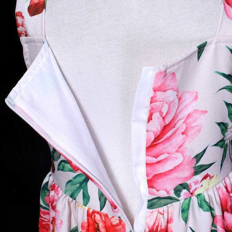 Été pivoine fleur filles en mousseline de soie sans manches longue complète slip robe famille look vêtements bébé mère fille vacances robes de plage - 4