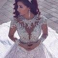Потрясающие Длинным Рукавом Кружева Свадебные Платья 2017 Роскошные Бисером Кристаллы Старинные Свадебные Свадебные Платья Vestidos De Noiva Renda AA66