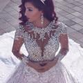 Stunning Long Sleeve Lace Wedding Dresses 2017 Luxury Beading Crystals Vintage Wedding Bridal Gowns Vestidos De Noiva Renda AA66