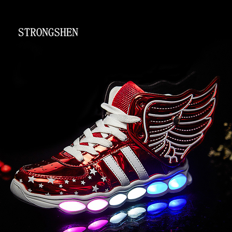 STRONGSHEN 2017 USB New Spring Kids Sneakers Fashion Lighted Colorful LED lights Children Shoes Casual Flat Boy girl Shoes