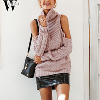 WYHHCJ 2018 Autumn/Winter Turtleneck knitting sweater female Cold shoulder long sleeve pullover women nude pink casual jumpers