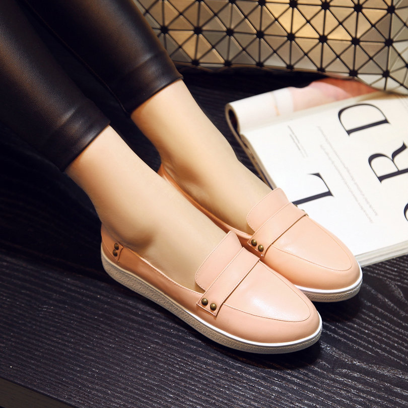 Size 34-39 New Spring Autumn Ladies Shoes Slip On Round Toe Flat Heel PU leather Solid Casual Women Shoes Colour Pink  2017 women lady shoes flat heel spring autumn boat pointed toe slip on casual simple mixed color pink yellow blue black red