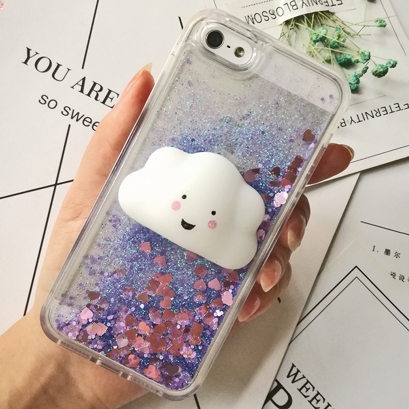 3D Cartoon Squishy Cat Quicksand Case For iPhone 5 s SE Case For iPhone 6 6s 7 8 Plus X Case Glitter Liquid Back Cover Case (20)