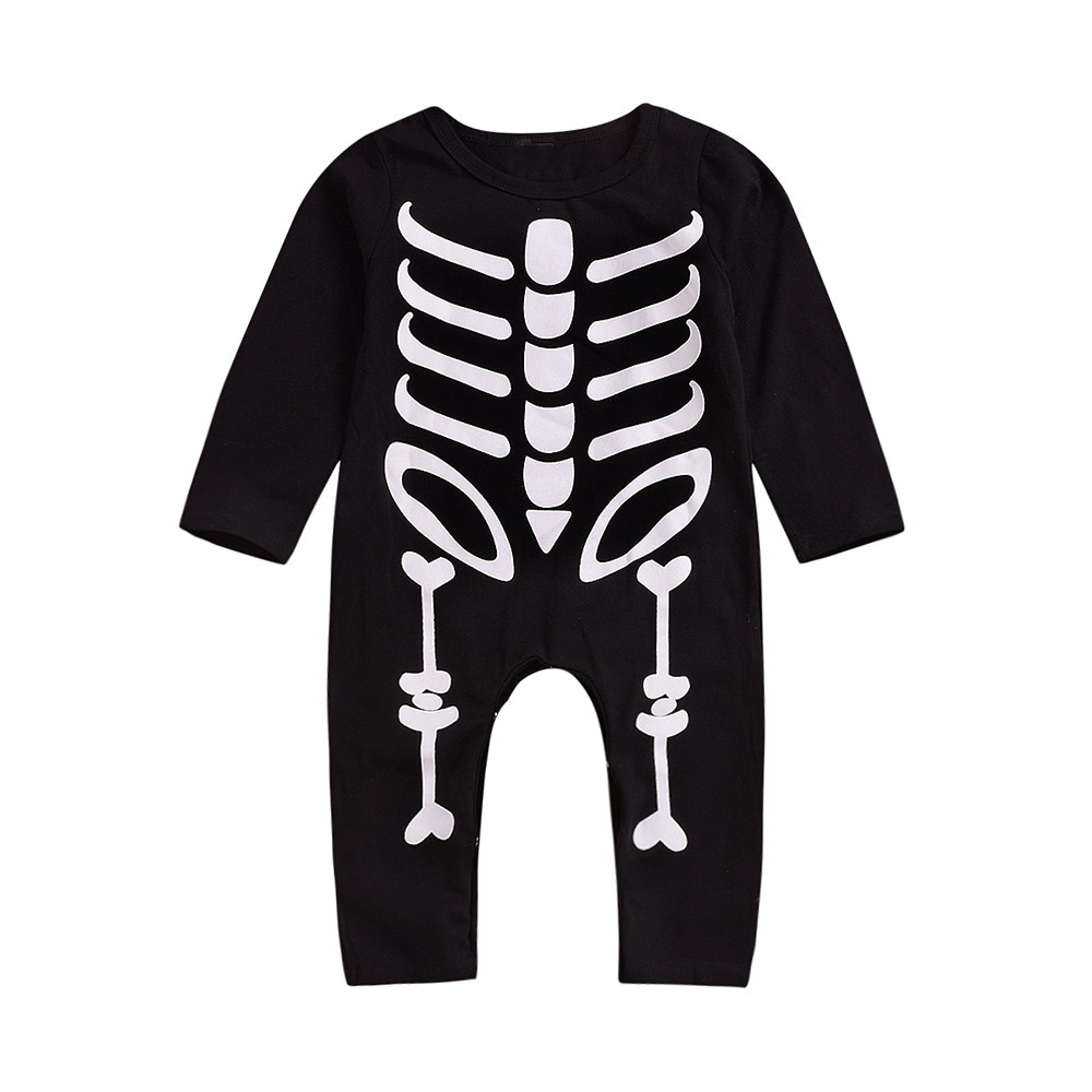 halloween toddler baby long sleeves skull print romper infant
