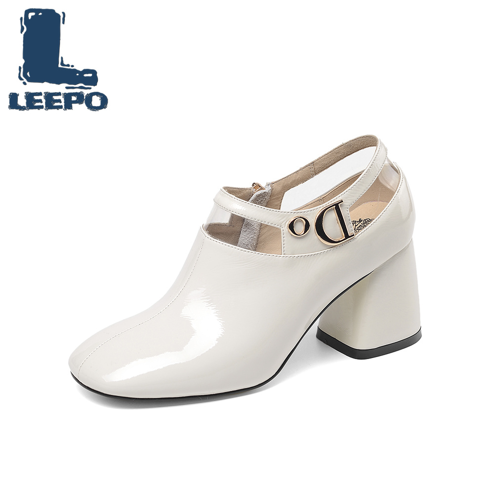 LEEPO Sapatos Feitos de Couro Genuíno das Mulheres do Sexo Feminino Sapatos de Salto Alto Primavera Saltos Sapatas Das Senhoras Do Dedo Do Pé Quadrado Branco com saltos grossos