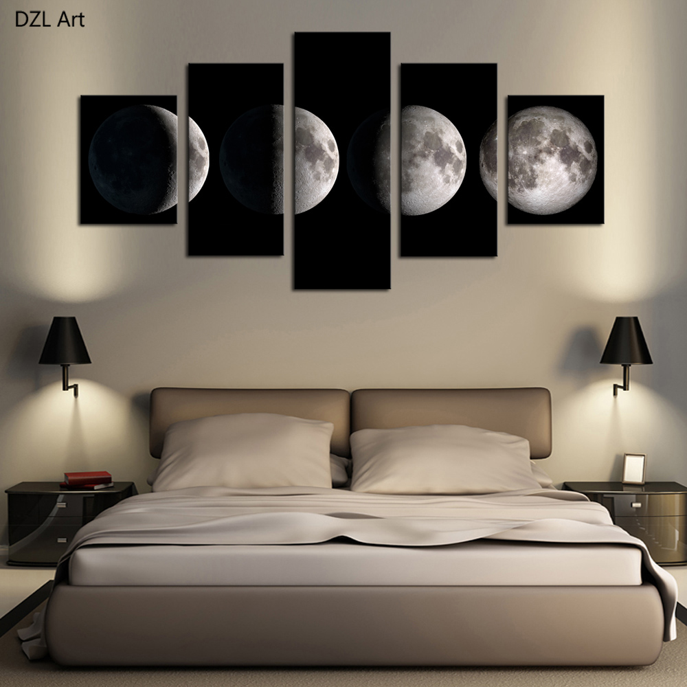 5 Piece(No Frame)Moon Modern Home Wall Decor Canvas Picture Art HD Print Painting On Canvas for Living Room-in Painting & Calligraphy from Home & Garden    1