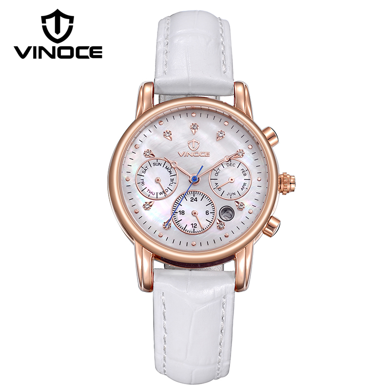 VINOCE Luxury Crystal Diamond Ladies Quartz Watches Top Brand Genuine Leather Band Women Watches 50M Waterproof