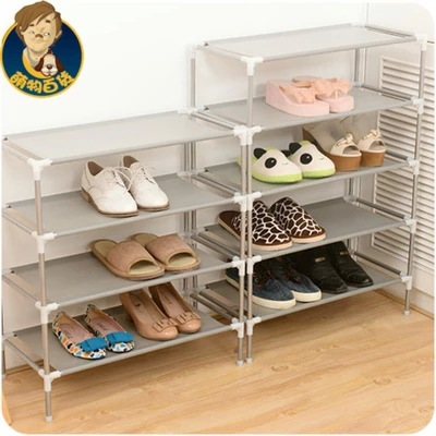 Wholesale stainless steel multi-function receive racks dormitory shoe Korea multilayer woven simple shoe rack creative shoe rack easy receive shoe rack non woven