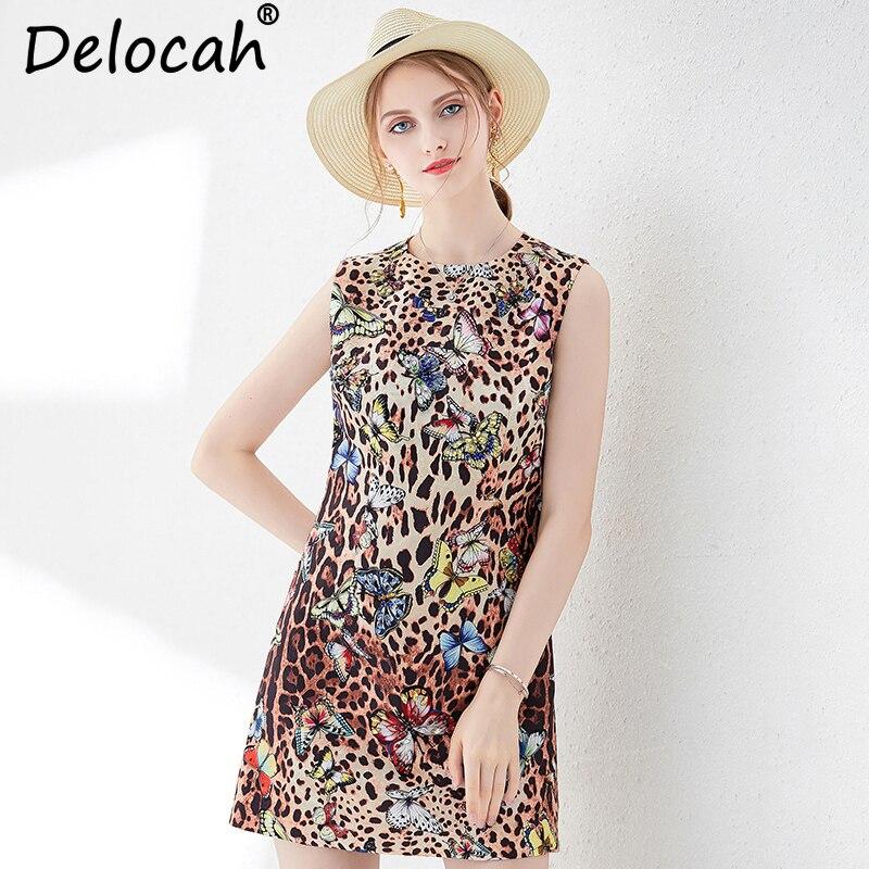 Delocah New Women Summer Vest Dress Runway Fashion Sleeveless Beading Leopard Printed Elegant Vintage Ladies Party Mini Dresses