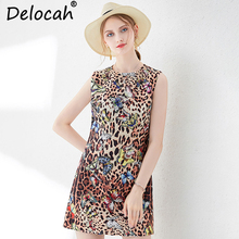Delocah New Women Summer Vest Dress Runway Fashion Sleeveless Beading Leopard Printed Elegant Vintage Ladies Party Mini Dresses
