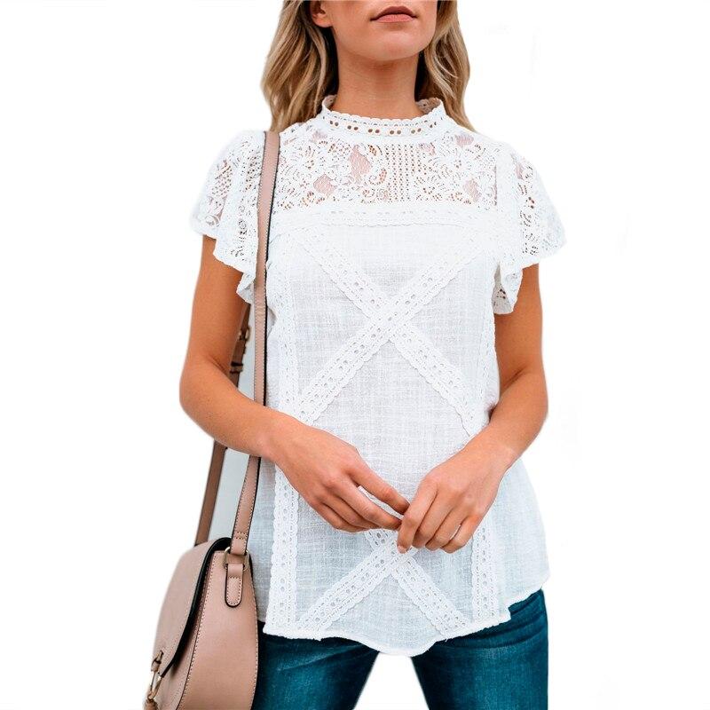 Blusas de renda de verão chegada das mulheres sem mangas O Pescoço branco Eelgant senhora patchwork 2018 sexy Top Camisa OL Formal oco para fora blusa