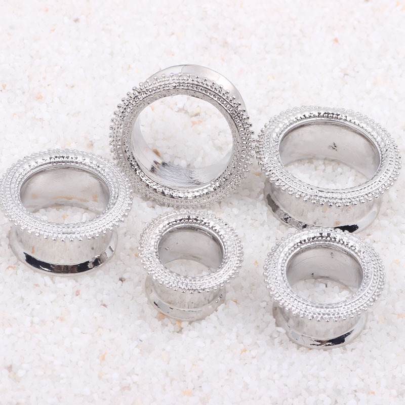 6-16mm New Design silver stainless steel double flare ear gauges flesh tunnel expander stretcher era plugs body piercing jewelry