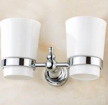 Wall Mounted Polished Chrome Brass Bathroom Toothbrush Holder Set Accessory Dual Ceramic Cup mba908
