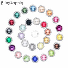 20mm decorative bling no scratch pearl crystal rhinestone buttons flat back embellishment mix colors 100PCS BTN-5305(China)