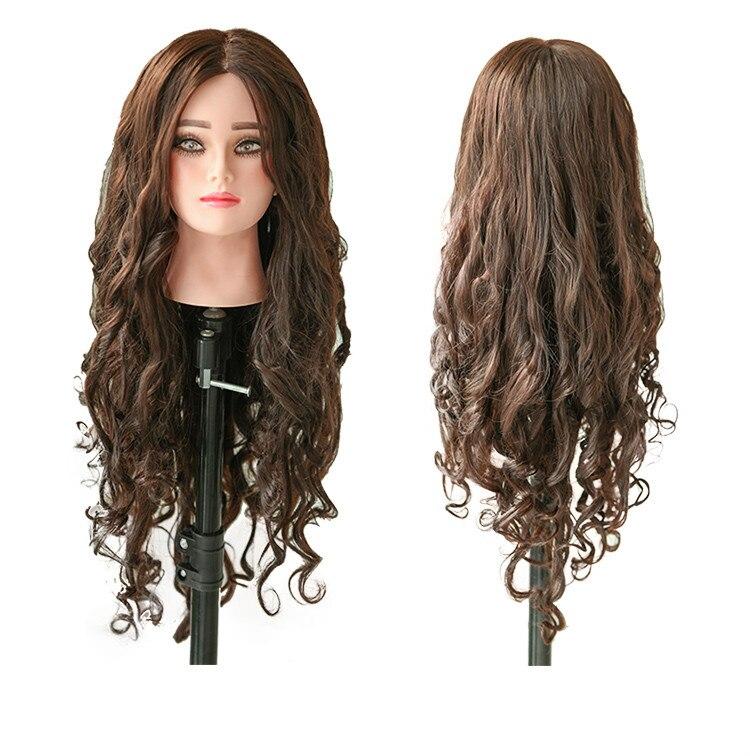 21inch 80% Human Brown Hair Hairdresser Mannequin Head Hair Style Hairdressing Dolls Head