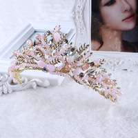 Baroque Vintage Pink Bridal Crowns Handmade Tiara Wedding Hair Accessories Bridal Headpiece Party Coronas Diadem Crowns Diadema