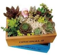 Zakka retrò legno fatta vasi da giardino piante grasse combinazione piatto in legno vaso di fiori 006 dimensione 22*17*5