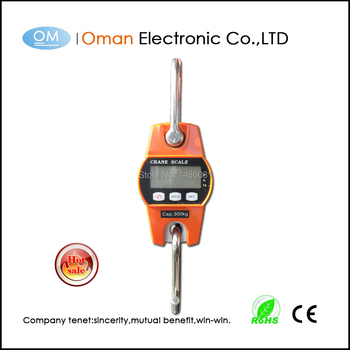 400kg digital grams white back light Mini crane scales weighing 300kg hanging scale with large display balance weight