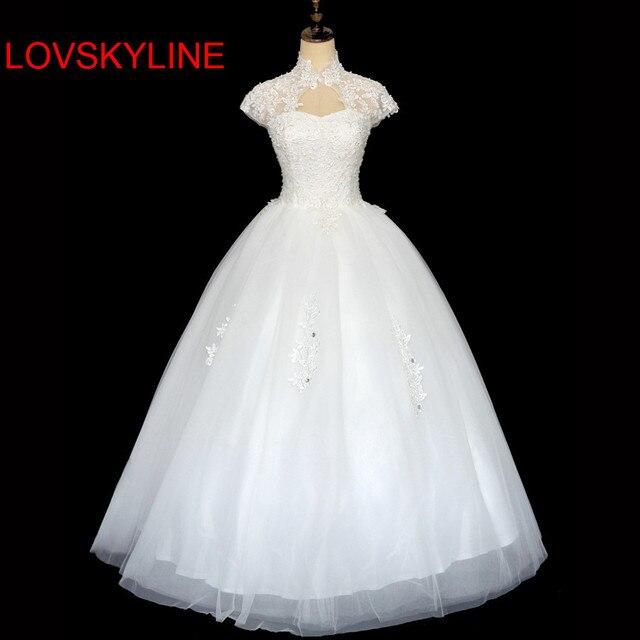 2018 double-shoulder slim slit neckline bag lace strap married bride Wedding Dresses