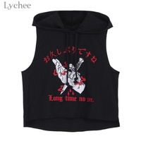 Lychee Harajuku Punk Gothic Women Hooded Crop Top Letter Embroidery Sleeveless Casual Vest Tank Top Female
