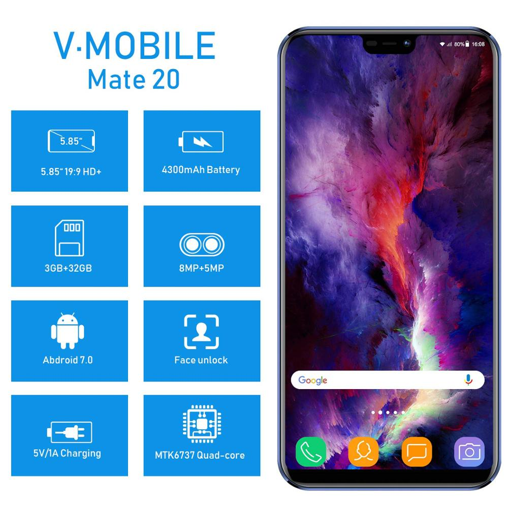"Image 2 - TEENO VMobile Mate 20 Mobile Phone Android 7.0 3GB+32GB Fingerprint ID 5.84"" 19:9 HD Screen 4G Smartphone unlocked Cell Phones-in Cellphones from Cellphones & Telecommunications"