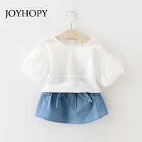 JOYHOPY Girls Clothing Sets 2018 New Girls Clothing Sets Tracksuits Children Clothing Shirts+Denim Skirt