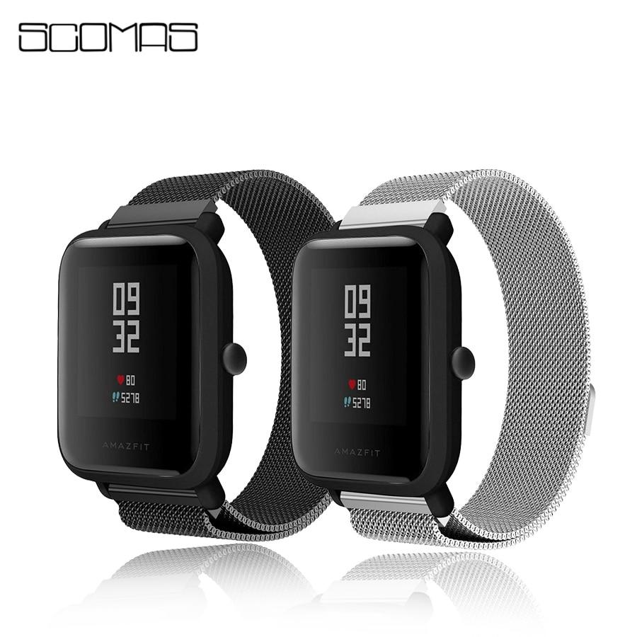SCOMAS 20mm Acero inoxidable Milanese magnético Smart Watch banda correas para Huami Xiaomi Amazfit Bip juventud poco correa del reloj correa