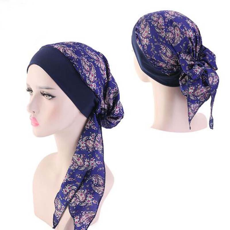 Korean Emulation Silky Bonnet Skullies Beanies Spring Summer Brand Elastic Braid Pirates Cap Fashion Women Chemotherapy Turban