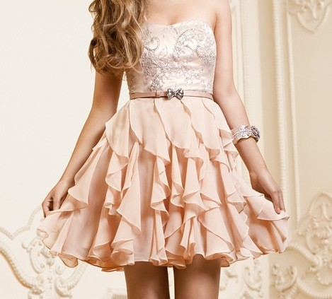 Vintage A Line Strapless Sweetheart Beaded Bodice Sash Chiffon Short Prom Gowns
