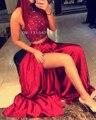 2016 Exquisite 2 Pieces High-neck A Line satin Crystal Beaded Top Long Dark Red Homecoming DressVestidos De Formatura Curto