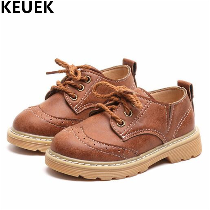 New Child Leather Shoes Boys Anti-Slippery Lace-Up Fashion Baby Toddler Shoes Kids Flats Casual Student Dress 019