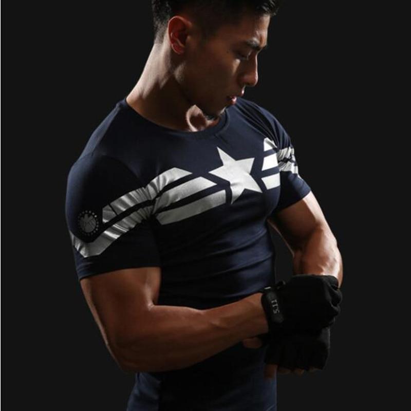 Captain America 3D T-shirt Mannen Fitness Compressie Shirts Tops Mannelijke Print Superhero Superman punisher Cross fit Anime