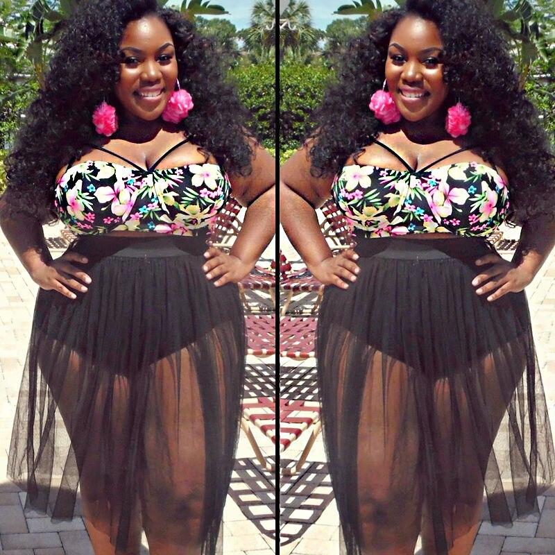 61d7f770806b7 2016 Sexy Black Print Flower Woman High Waist Plus Size Swimsuit Big Bra  Push Up Biquinis Bathing Suit big size women clothes