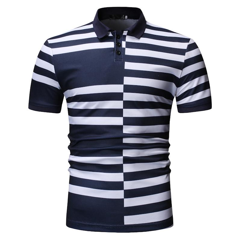 Polo   Shirt Men Lapels Summer Tops Stripe splicing Men's Clothing Business Casual Tees Men   Polo   Shirt Short sleeve