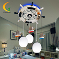 110V 220V E27 Glass Ball Light Modern Chandelier Mediterranean Baby Room Led Chandeliers Led Design Children's Ceiling Lights