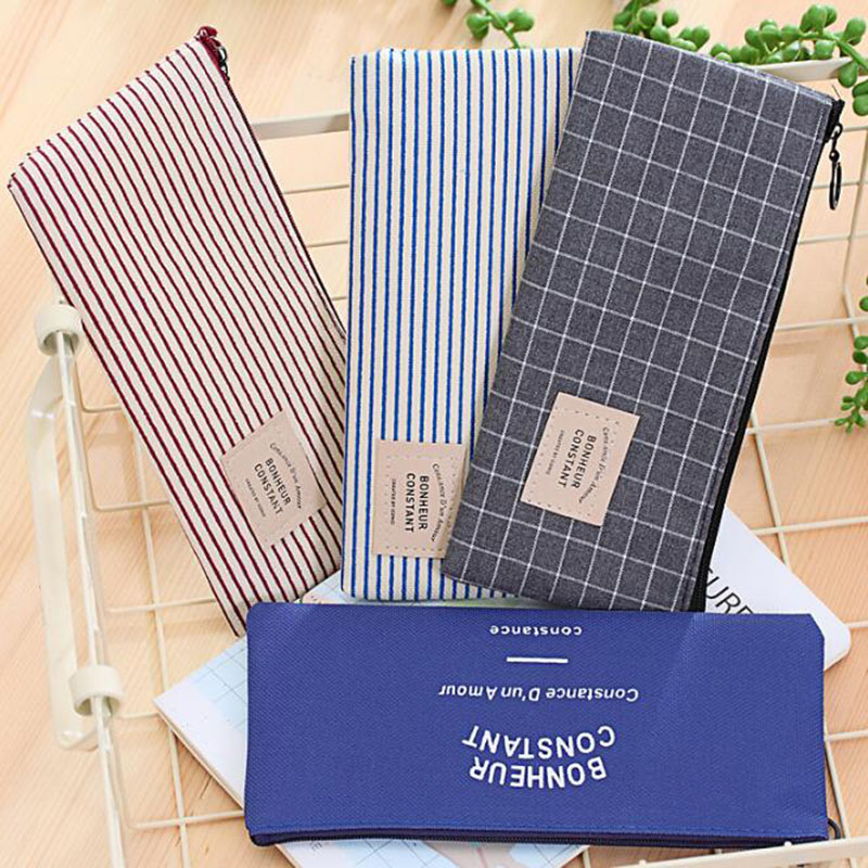 Creative Stationery Striped Pencil Case Small Fresh School Students Canvas Pencil Case Simple Coin Purse Gift Pencil Case