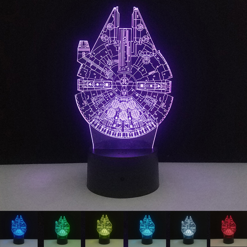 3D Night Light Touch Switch Table Lamp Colorful Star Wars Millennium Falcon Gradient Mood Lamps Atmosphere Novelty Lighting
