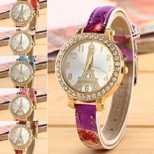New Effiel Tower Slim Colored Faux Leather Band Women's Wrist Watch Rhinestone Case 181 G6TN 98Z9