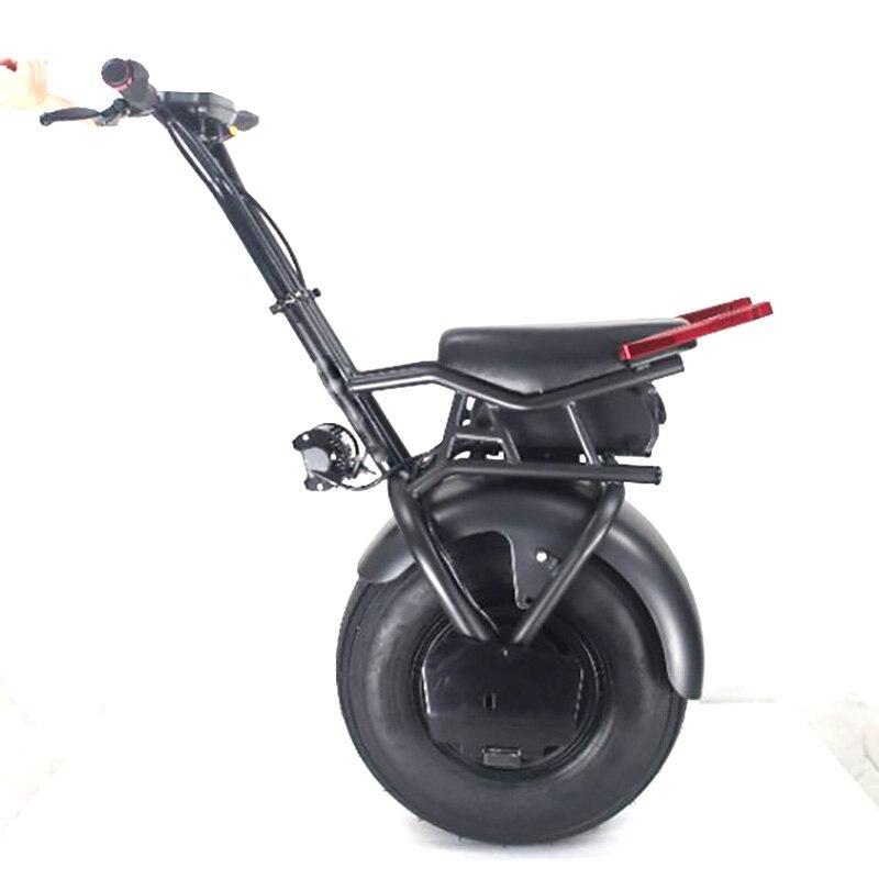 Potente 18 pulgadas neumático ancho bici eléctrica de la motocicleta una rueda con asiento 45 km rango