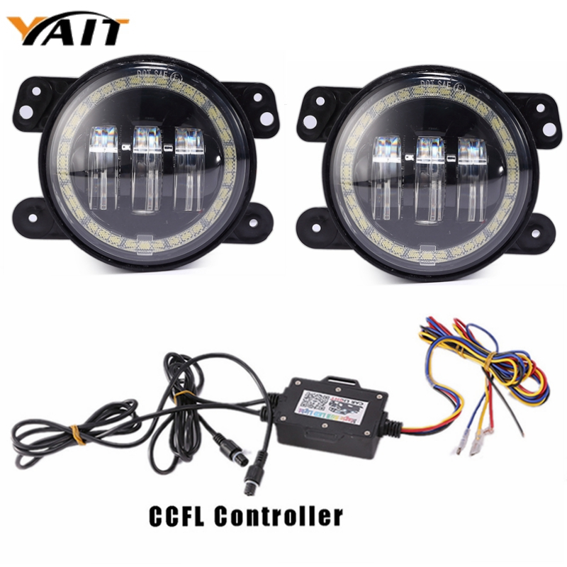 Yait 2pcs LED Fog Light Kit 30W 4 inch RGB Halo Ring Log Fog Lamp For 07~14 Jeep Wrangler JK Rubicon Sahara-in Car Light Assembly from Automobiles & Motorcycles    1