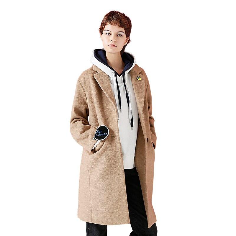 Toyouth Woollen Coat 2019 Winter Women Letter Embroidery All Match Turn Down Collar Long Overcoat Female