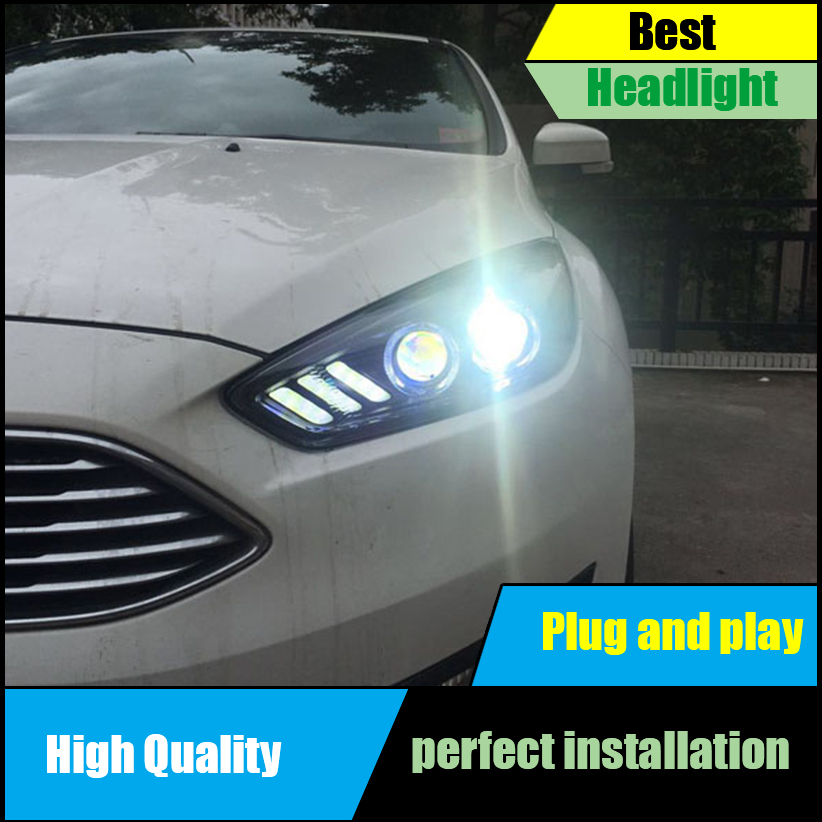 Car styling Head Lamp For Ford Focus MK3 Headlights 2015 2016 2017 Headlight Assembly LED DRL Bi Xenon Lens HID D2H Front light
