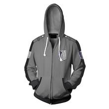 купить Fans Wear Sweatshirt Shingeki No Kyojin Zipper Hooded Attack on Titan Printed Hoodies Eren Yeager Zip Up Hoodie по цене 1276.57 рублей