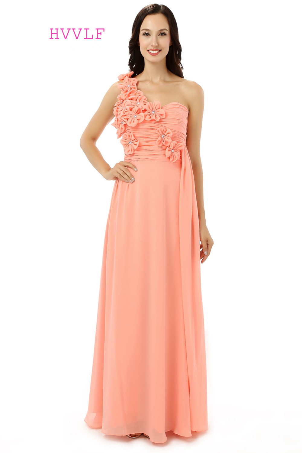 Buy cheap strapless floor length chiffon coral bridesmaid dress - Coral 2017 Cheap Bridesmaid Dresses Under 50 A Line One Shoulder Floor Length Chiffon